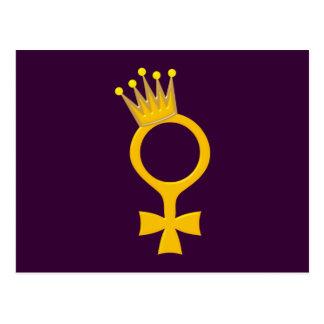 Frau Königi woman queen Postkarte