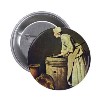 Frau Scrubbing Dishes By Jean-Baptiste Siméon Char Buttons