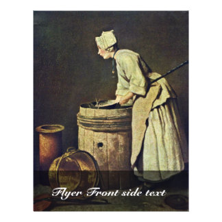 "Frau Scrubbing Dishes By Jean-Baptiste Siméon Char 8.5"" X 11"" Flyer"