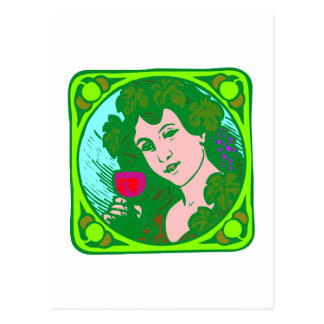 Frau Wein woman wine Postkarten