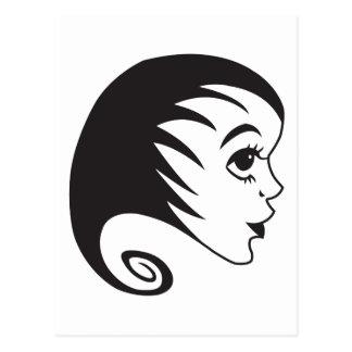 Frau - woman - Haare Postkarte