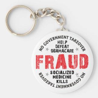 Fraude de Obamacare Llavero Redondo Tipo Pin