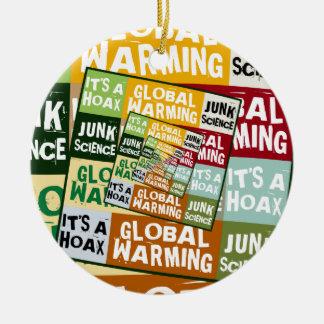 Fraude del calentamiento del planeta ornamentos de navidad