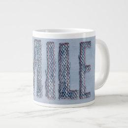 frayed smile in denim large coffee mug