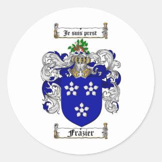 FRAZIER FAMILY CREST -  FRAZIER COAT OF ARMS ROUND STICKER
