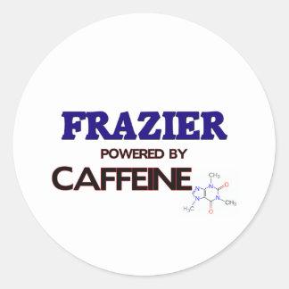 Frazier powered by caffeine round stickers