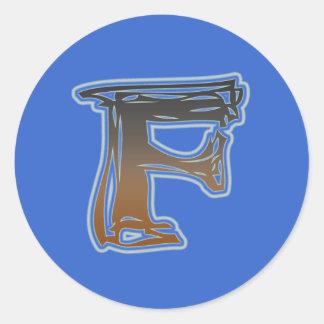 FRAZZLE MONOGRAM F CLASSIC ROUND STICKER