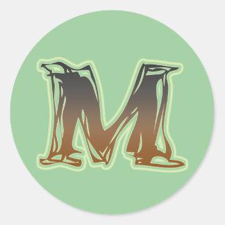 FRAZZLE MONOGRAM M CLASSIC ROUND STICKER