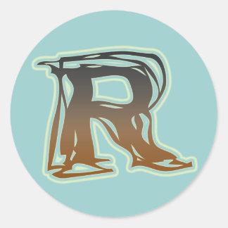 FRAZZLE MONOGRAM R CLASSIC ROUND STICKER