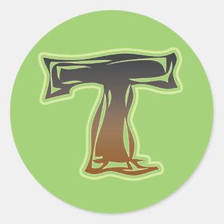 FRAZZLE MONOGRAM T CLASSIC ROUND STICKER