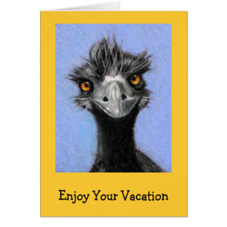 FRAZZLED EMU: ENJOY YOUR VACATION: Funny Greeting Card