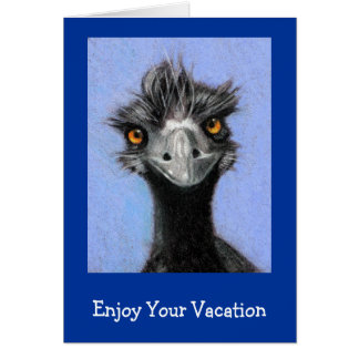 FRAZZLED EMU: ENJOY YOUR VACATION GREETING CARD