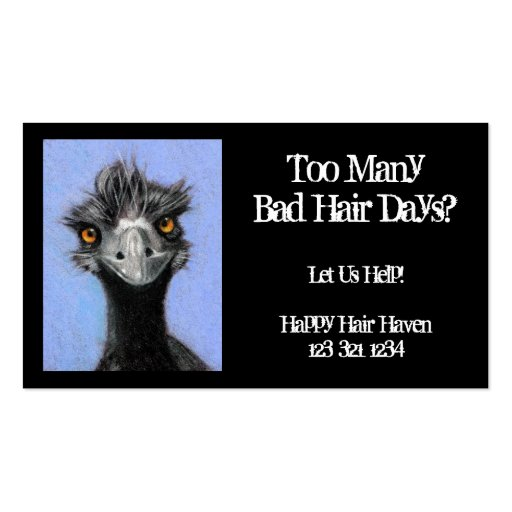 Frazzled Emu: Hair Business: Bad Hair Days Business Card