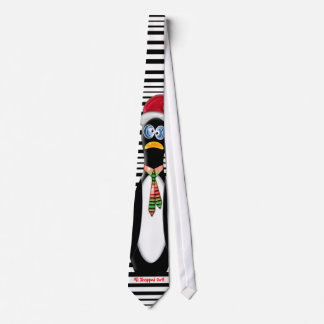 Frazzled Santa Penguin All Shopped Out Personalize Neck Tie