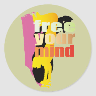 fre your mind classic round sticker
