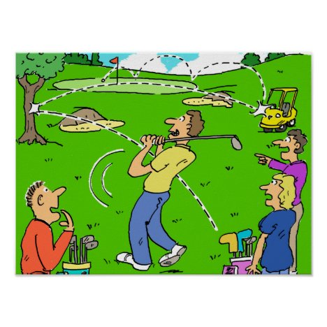 Freak Golf Shot Rebounds Poster