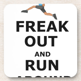 Freak Out And Run Around, funny scared girl design Coaster