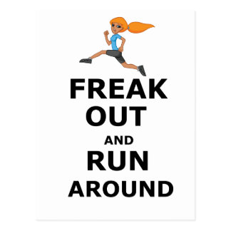 Freak Out And Run Around, funny scared girl design Postcard