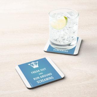 Freak Out and Run Around Screaming (blu) Beverage Coaster