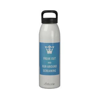 Freak Out and Run Around Screaming (blu) Water Bottle
