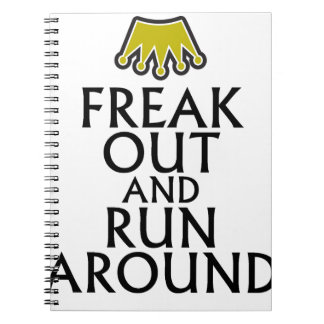 freak out and run around tees.png spiral notebooks
