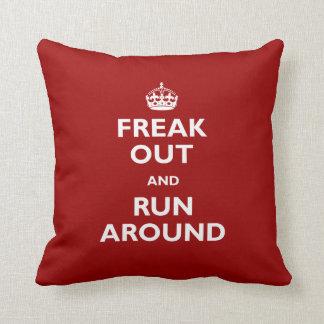 Freak Out and Run Around Throw Pillow
