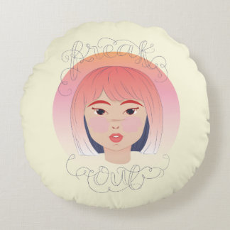 Freak Out: Drawing of a Girl Round Pillow
