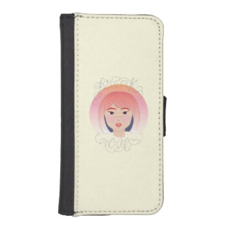 Freak Out: Drawing of a Girl Wallet Phone Case For iPhone SE/5/5s