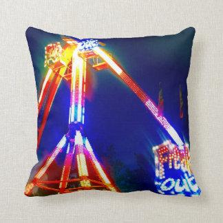 Freak Out Night Neon Lights Amusement Park Photo Throw Pillow