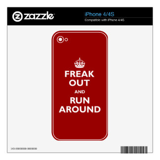 Freak Out & Run Around Decals For iPhone 4
