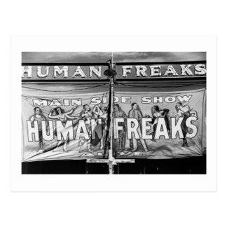 Freak Show, 1940s Postcard