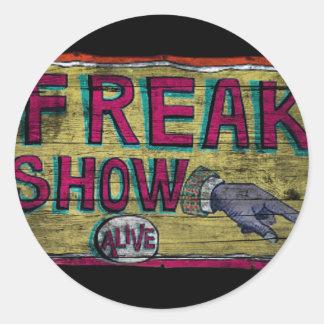 Freak Show Vintage Banner Classic Round Sticker
