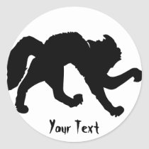 Freaked out black cat classic round sticker