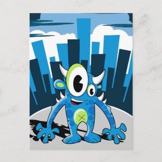 Freaky Blue Monster Postcard postcard