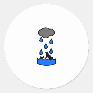 Freaky Cow Rain Classic Round Sticker