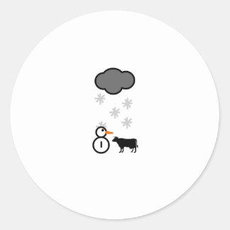 Freaky Cow Snow Classic Round Sticker