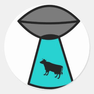 Freaky Cow Ufo Classic Round Sticker