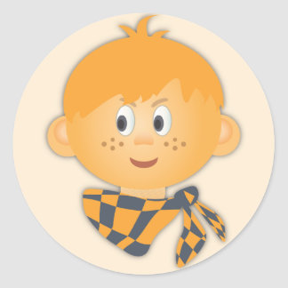 Freckled Boy with a Scarf Classic Round Sticker