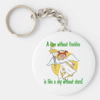 Freckled Face Angel Basic Round Button Keychain