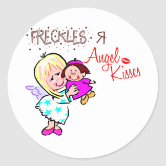 Freckles Are Angel Kisses Classic Round Sticker