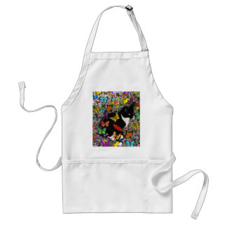 Freckles in Butterflies - Black and White Kitty Adult Apron