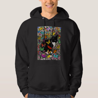 Freckles in Butterflies - Black and White Kitty Hooded Sweatshirt