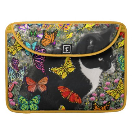 Freckles in Butterflies - Black and White Kitty Sleeves For MacBooks