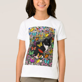 Freckles in Butterflies - Black and White Kitty T-Shirt