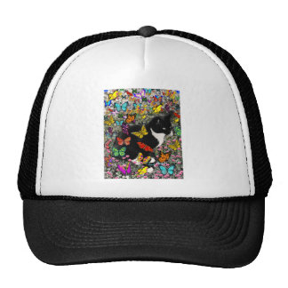 Freckles in Butterflies - Black and White Kitty Trucker Hat