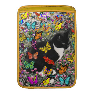 Freckles in Butterflies - Black & White Kitty MacBook Air Sleeve