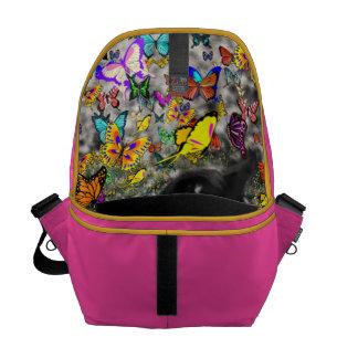 Freckles in Butterflies - Black & White Kitty Messenger Bag