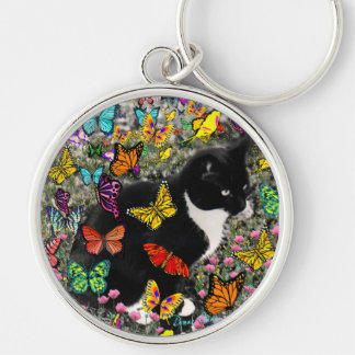 Freckles in Butterflies - Black & White Tux Cat Silver-Colored Round Keychain