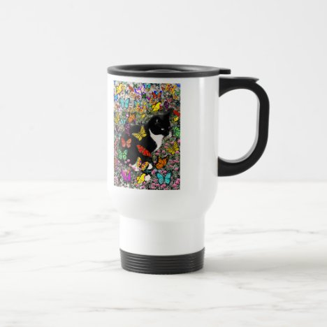 Freckles in Butterflies - Black & White Tux Cat Travel Mug