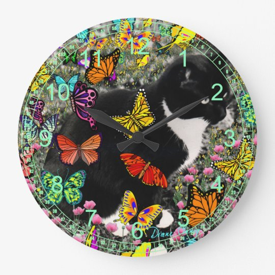 Freckles in Butterflies I - Black and White Cat Large Clock